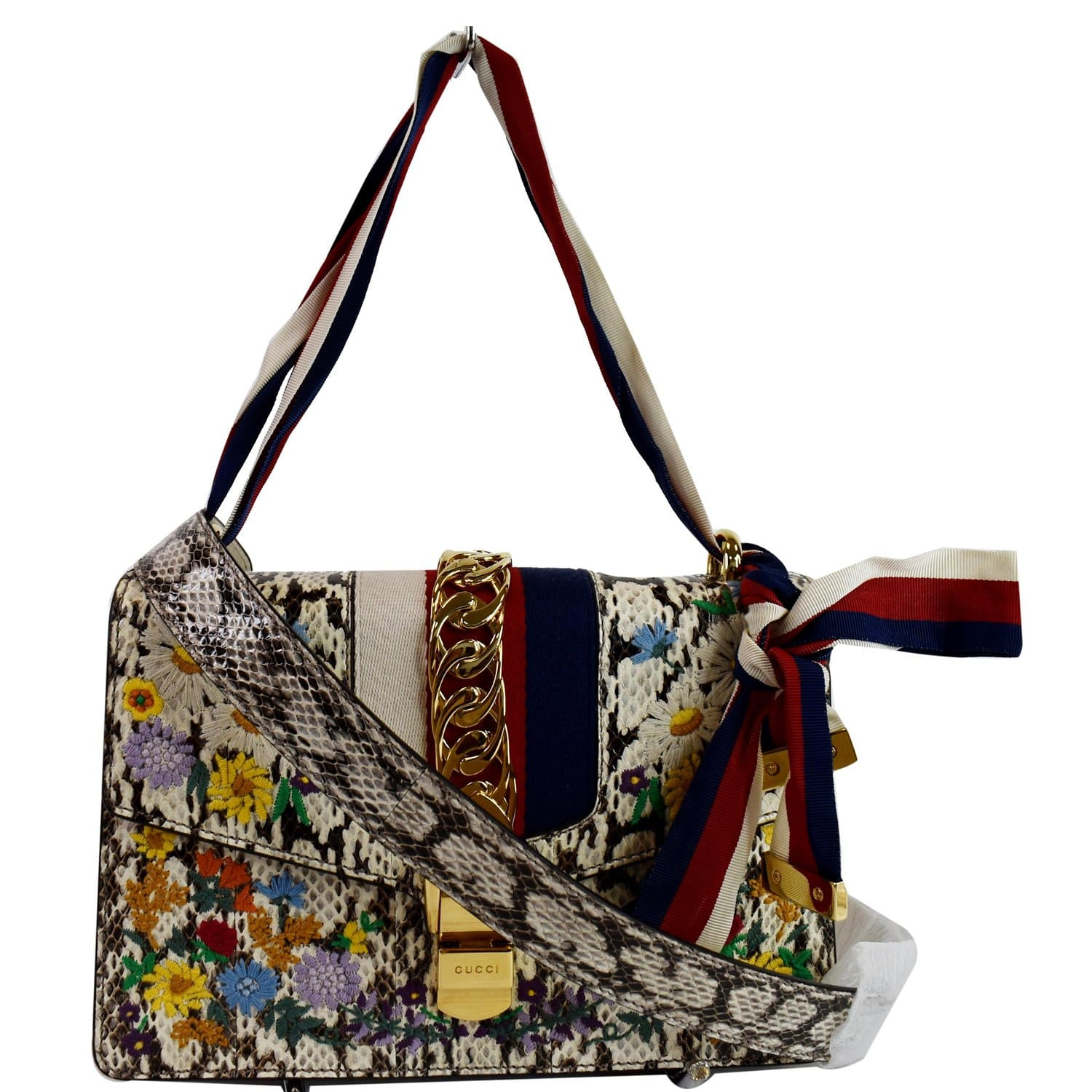 GUCCI Small Sylvie Floral Embroidered Roccia Snakeskin Shoulder Bag Multi 421882