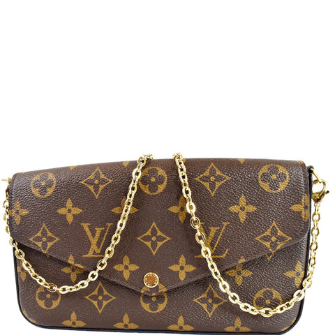 LOUIS VUITTON Pochette Felicie Monogram Canvas Crossbody Bag Brown