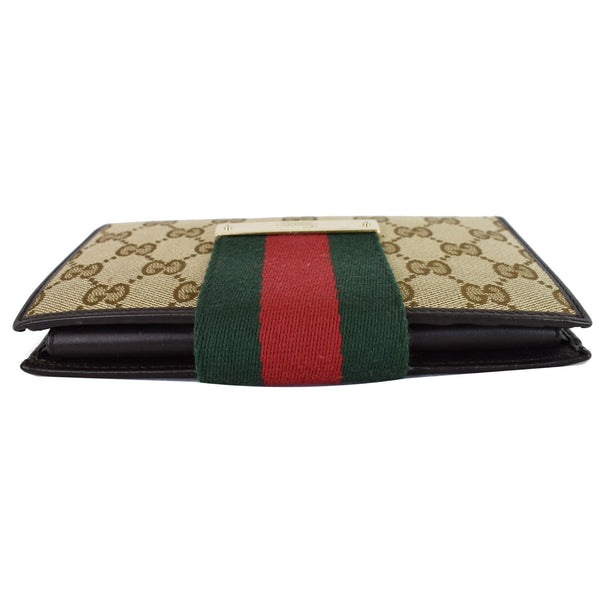 Gucci Monogram Ladies Web GG Canvas Continental Wallet - top front side