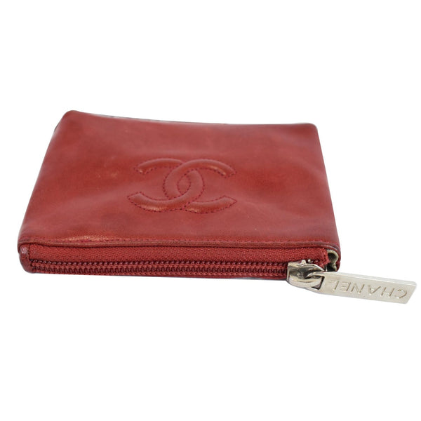 Chanel CC Key Ring Lambskin Leather Coin Case Purse zipper pouch