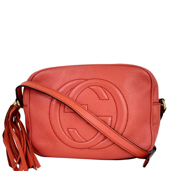 Gucci Soho Disco Pebbled Leather Small Crossbody Bag - coral color bag