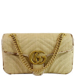 GUCCI GG Marmont Raffia Small Shoulder Bag Beige 443497 - Daily Deal