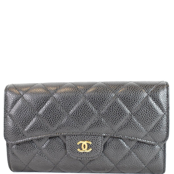 Chanel Large Flap Quilted Caviar Leather Wallet Black