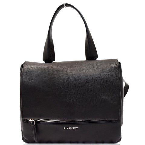 GIVENCHY Pandora Box Medium Grained Leather Shoulder Bag Black