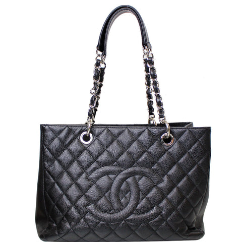 CHANEL Grand Shopping Caviar Leather Tote Bag Black