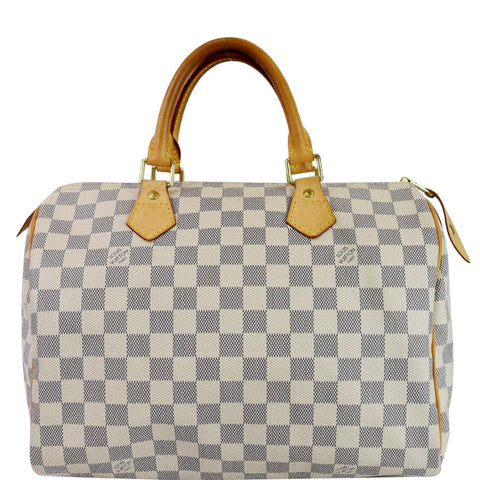 LOUIS VUITTON Speedy 30 Damier Azur Satchel Bag White