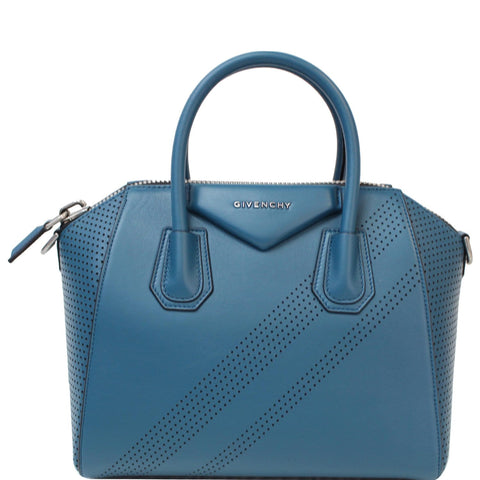 GIVENCHY Small Antigona Perforated Leather Satchel Bag Ocean Blue