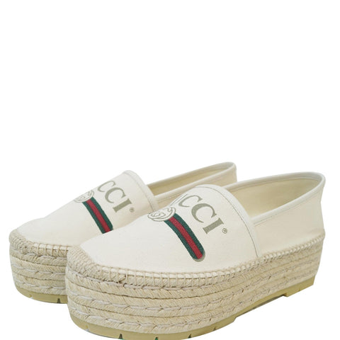 GUCCI Logo Sylvie Espadrilles Canvas Platform Off White 525989 US 8