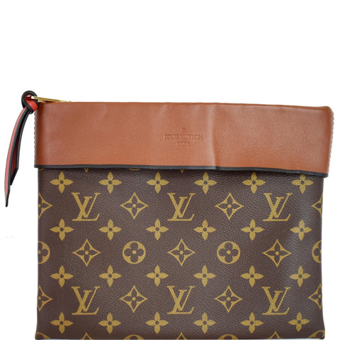 LOUIS VUITTON Tuileries Monogram Canvas Clutch Bag Caramel