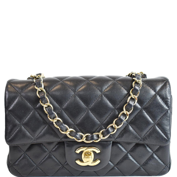 CHANEL Mini Rectangular Flap Quilted Lambskin Leather Shoulder Bag Black
