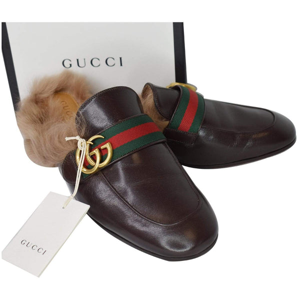 Gucci Princetown Fur Leather Slipper Cocoa Brown - side view