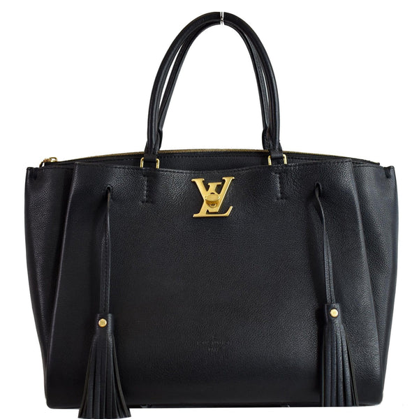 Louis Vuitton Lockmeto Calfskin Leather Tote Bag Black
