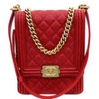 CHANEL North South Boy Quilted Caviar Leather Crossbody Bag Red