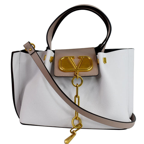 VALENTINO Vlogo Escape Small Leather Shoulder Bag White