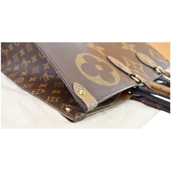 Louis Vuitton Onthego GM Reverse Monogram Canvas Bag- top right corner