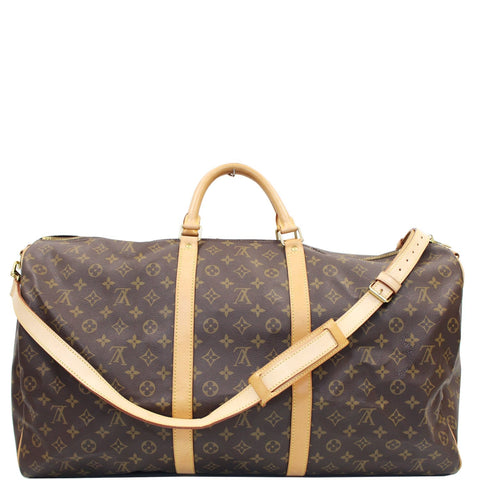 LOUIS VUITTON Keepall 60 Bandouliere Monogram Canvas Travel Bag Brown