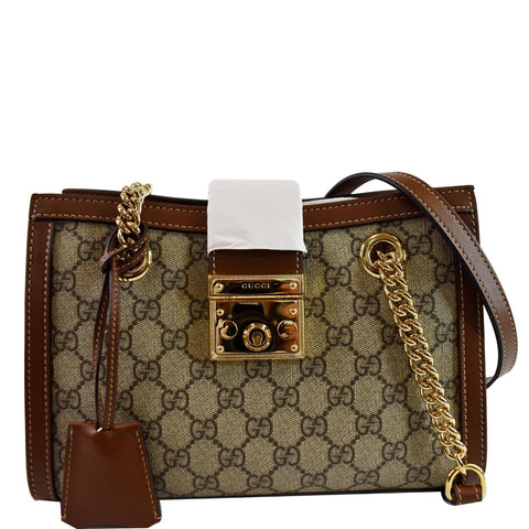 GUCCI Padlock Small GG Supreme Canvas Shoulder Bag Beige/Ebony 498156