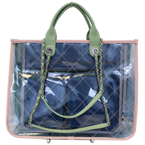 CHANEL Coco Splash Medium Lambskin PVC Quilted Shopping Bag Blue Green-US