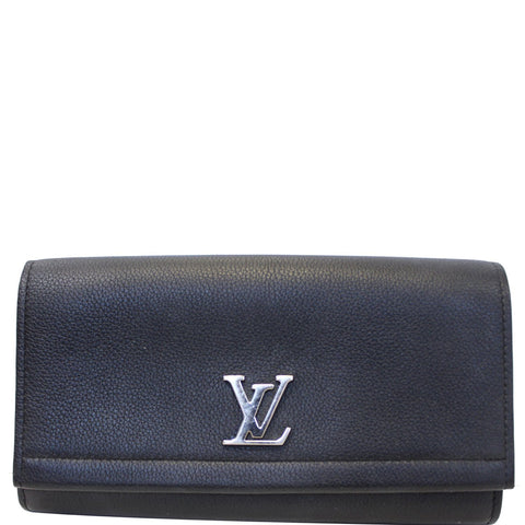 LOUIS VUITTON Lockme II Calfskin Leather Wallet Black