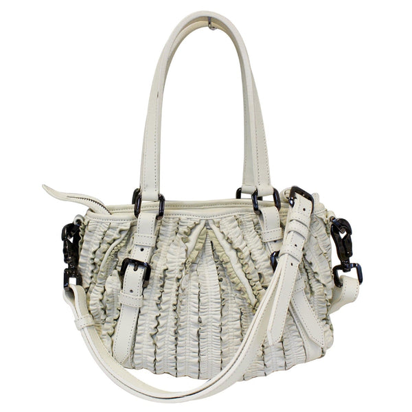 Burberry Shoulder Bag Ruffle Small Lowry White Leather - strap
