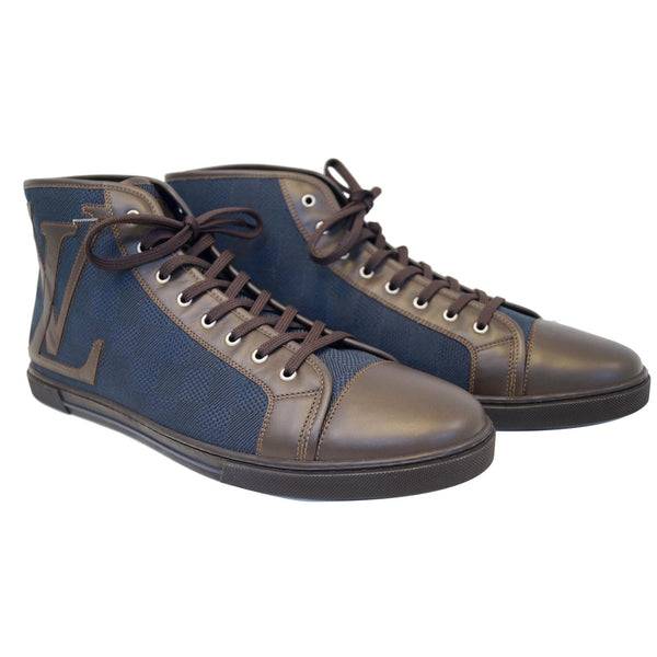 LOUIS VUITTON High Top Damier Geant Sneakers Navy US 13