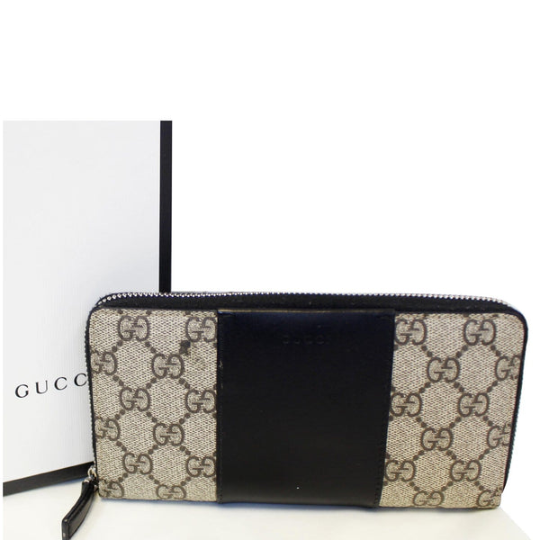 Gucci Wallet GG Supreme Monogram Zip Around Black for sale