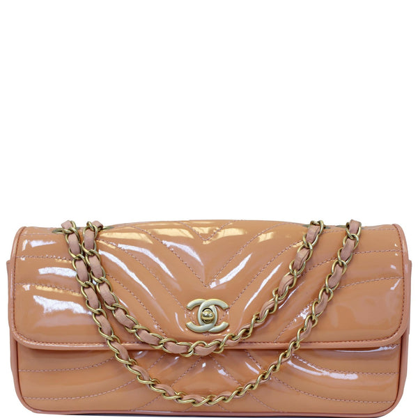 Chanel Flap Shoulder Bag Patent Leather Peach For Women