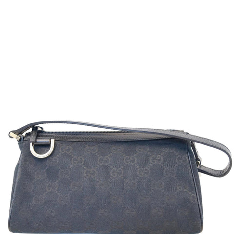 GUCCI Abbey D-Ring Ebony G Canvas Pochette Bag Black 145750