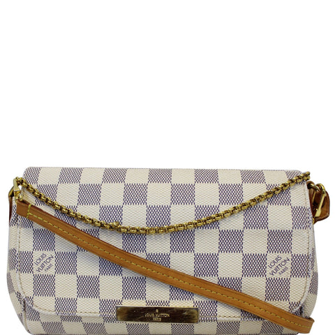 LOUIS VUITTON Favorite PM Damier Azur Crossbody Bag White