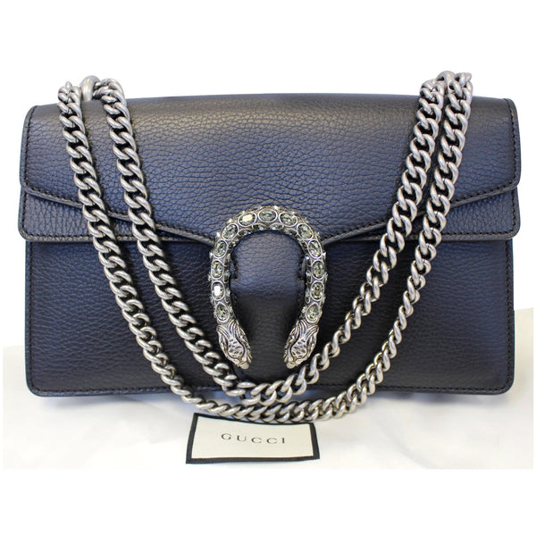 Gucci Shoulder Bag Dionysus Small Leather Black - front bag view