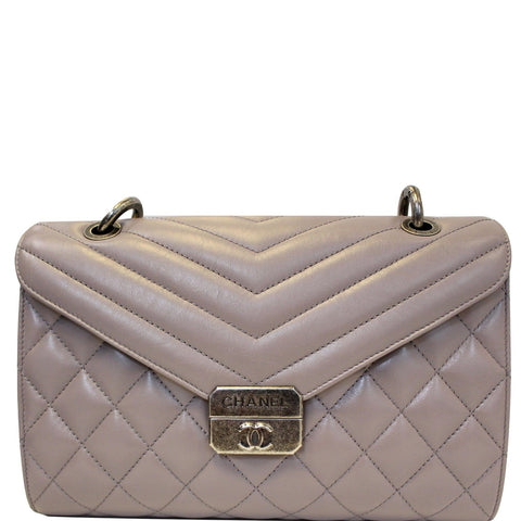 CHANEL Quilted Sheepskin Flap Bag with Handle Lilac