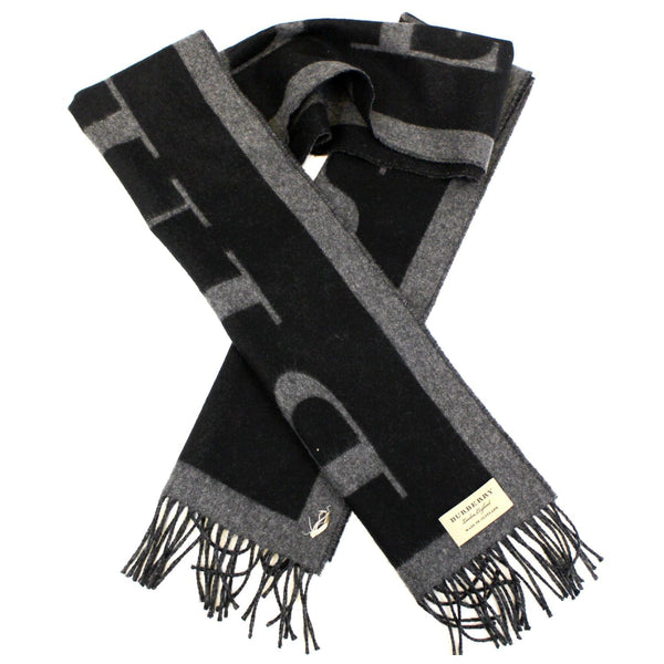 Burberry Scarf Logo Text Cashmere Black & Grey - left view