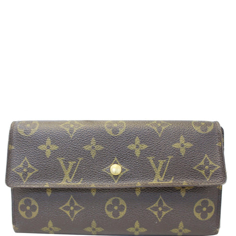 LOUIS VUITTON Porte Tresor International Monogram Canvas Wallet Brown