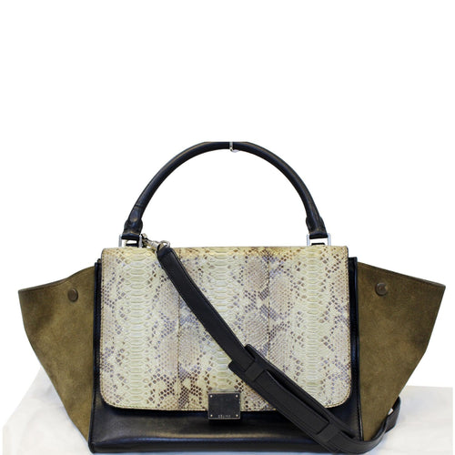 CELINE Python and Black Leather Small Trapeze Bag