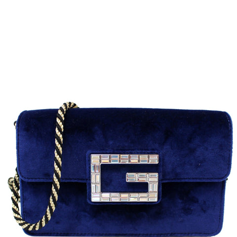 GUCCI Broadway Mini Velvet Crossbody Bag 544242 Blue