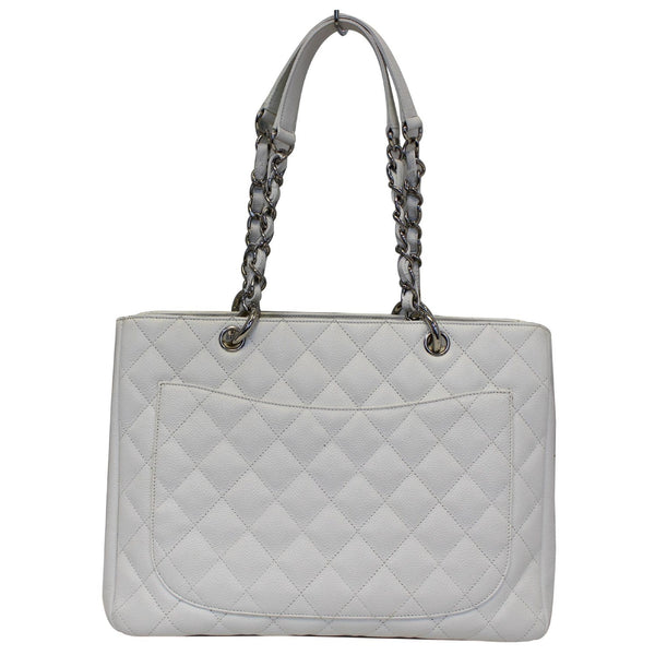 Chanel Tote Bag Grand Shopping Caviar Leather in White front view