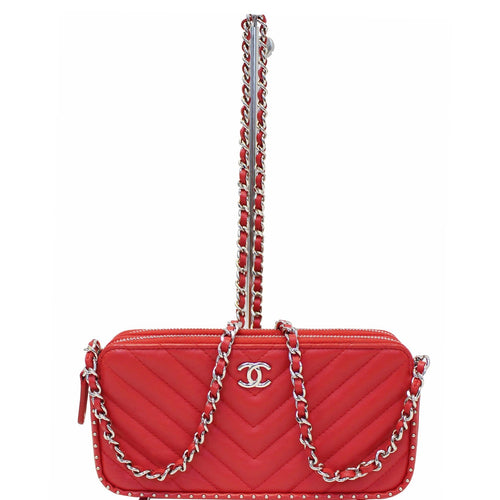 a852a9c74604 CHANEL Chevron Studded with Chain Lambskin Leather Shoulder Crossbody Bag  Red