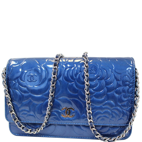 CHANEL Camellia Patent Leather Wallet on Chain WOC Royal Blue
