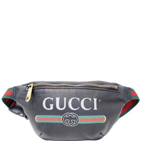 db8a689aefdd6d GUCCI Print Leather Black Belt Waist Bum Bag Small 527792