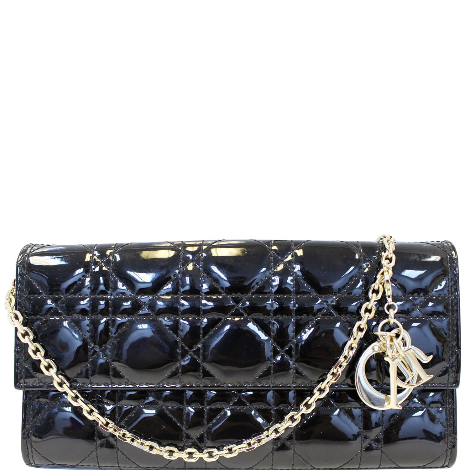 brand new 575ad d43e8 CHRISTIAN DIOR Lady Dior Croisiere Cannage Lambskin Chain Wallet Black
