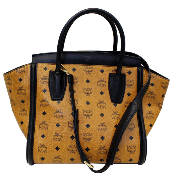 MCM Vintage Visetos Small Cognac Tote Bag Black-US