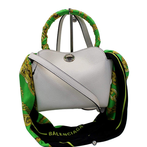 BALENCIAGA Flap Scarf XS Top Handle Crossbody Bag White
