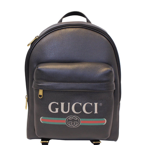 GUCCI Print Leather Backpack Bag Black 547834