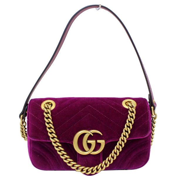 GUCCI GG Marmont Velvet Mini Shoulder Crossbody Bag Purple-US