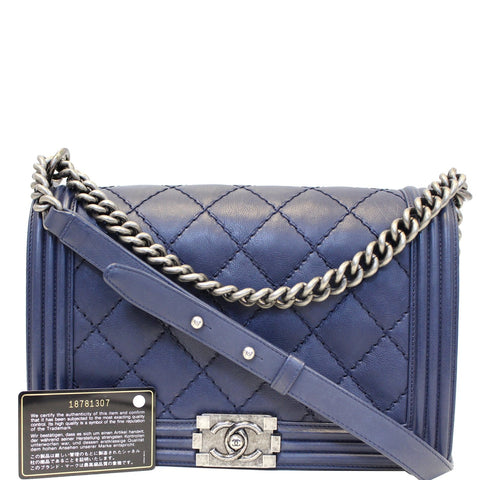 CHANEL New Medium Boy Flap Calfskin Double Stitch Shoulder Bag Navy