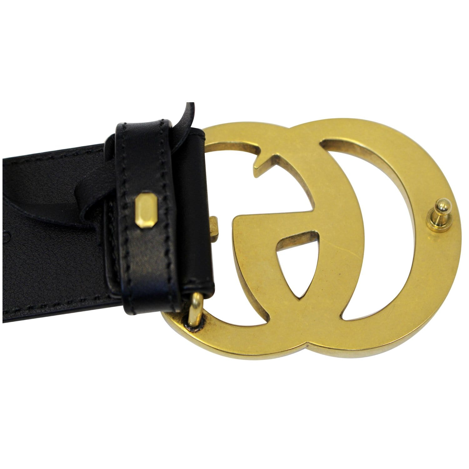 d53f287a3db GUCCI Double G Buckle Black Leather Belt 400593-US