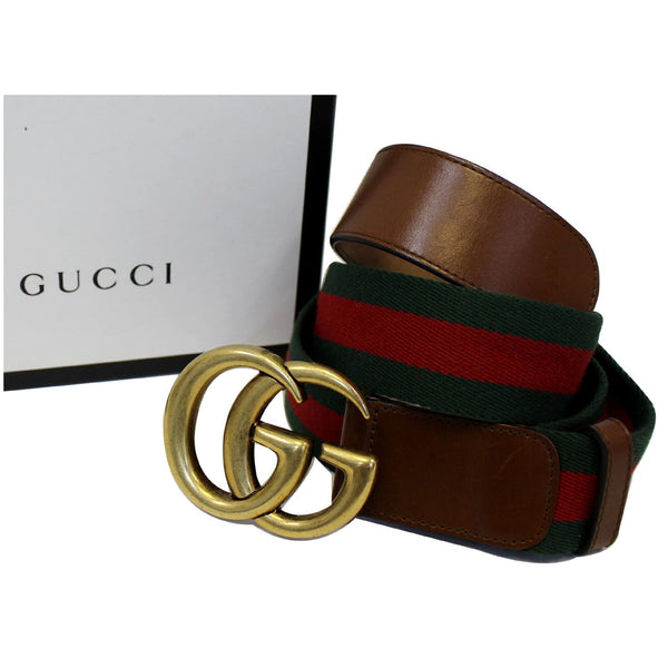 GUCCI Web Nylon Double G Buckle Belt Size 45 Red/Green-US
