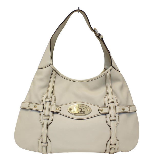 GUCCI 85th Anniversary Horsebit Leather Hobo Bag White 163804-US