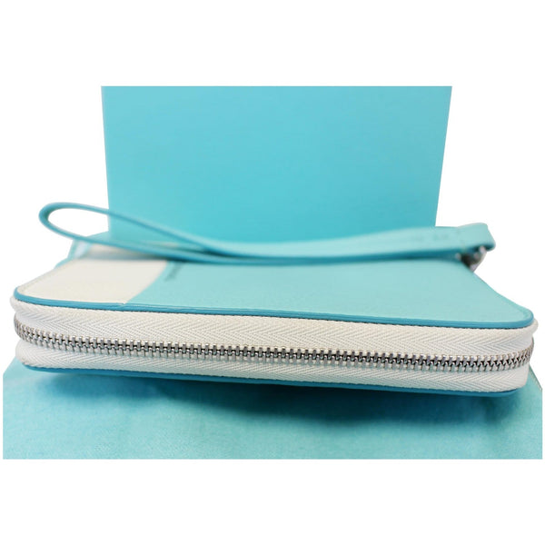 Tiffany & Co Color Block Zip Around Wallet Off-white/Blue-US