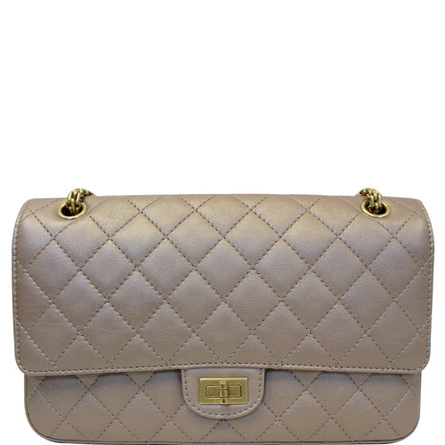 CHANEL Reissue Mademoiselle Lock Calfskin Leather Shoulder Bag Beige